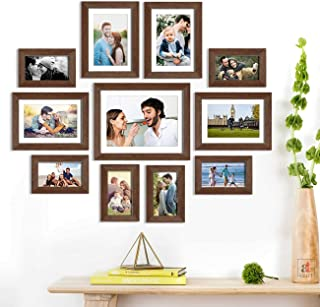 Eelysian Set of 11 Brown Wall Photo Frame, Picture Frame for Home Decor with Free Hanging Accessories-Size-4x6, 6x8, 8x10 ...