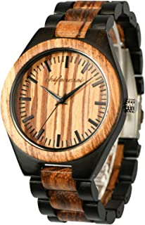 Wooden Watches Mens, shifenmei Engraved Wood Watch for Men Handmade Adjustable Wood Strap Wristwatch with Exquisite Box