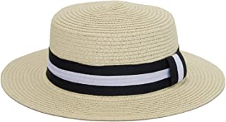 WITHMOONS Boater Skimmer Sailor Straw Amish Hat Banded 1920 Costumes QZW0058