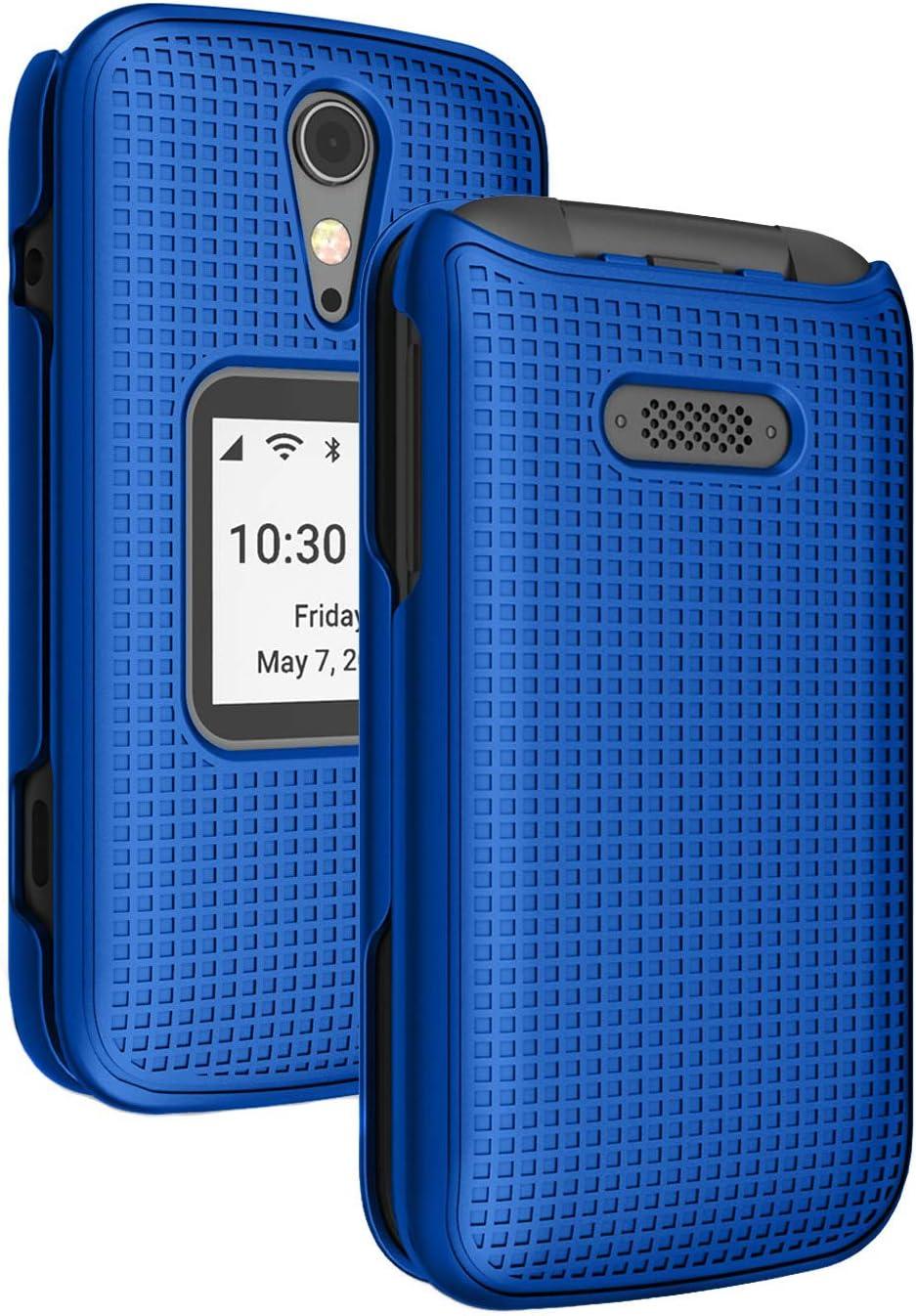 Case for Jitterbug Flip2, Nakedcellphone [Cobalt Blue] Protective Snap-On Hard Shell Cover [Grid Texture] for Jitterbug Flip 2 Phone (aka Lively Flip) (4053SJ7)
