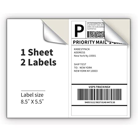 2000 Labels 1000 SHEETS 2-UP 8.5 x 5.5 Labels Self Adhesive Labels for Internet Postage and Shipping Address 2 Labels Per Sheet 8.5x11