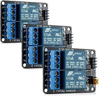kwmobile 3x Módulo de relé 5V para Arduino con 2 canales - Set de 3 módulos de relés para Arduino con optoacoplador