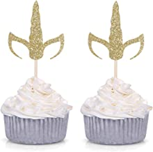 Set of 24 Gold Glitter Unicorn Horn and Ears Cupcake Toppers Baby Shower Kid's Birthday Party Decorations
