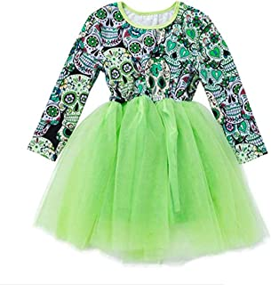 Baby Girls Dress Halloween Lace Tulle Dress Stylish Print Long Sleeve Dress Kids Costume (24 Months, Green)