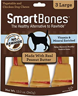 SmartBones SBPB-00218 Large Chews With Real Peanut Butter 3 Count, Rawhide-FreeChews For Dogs, Large | 3 Count