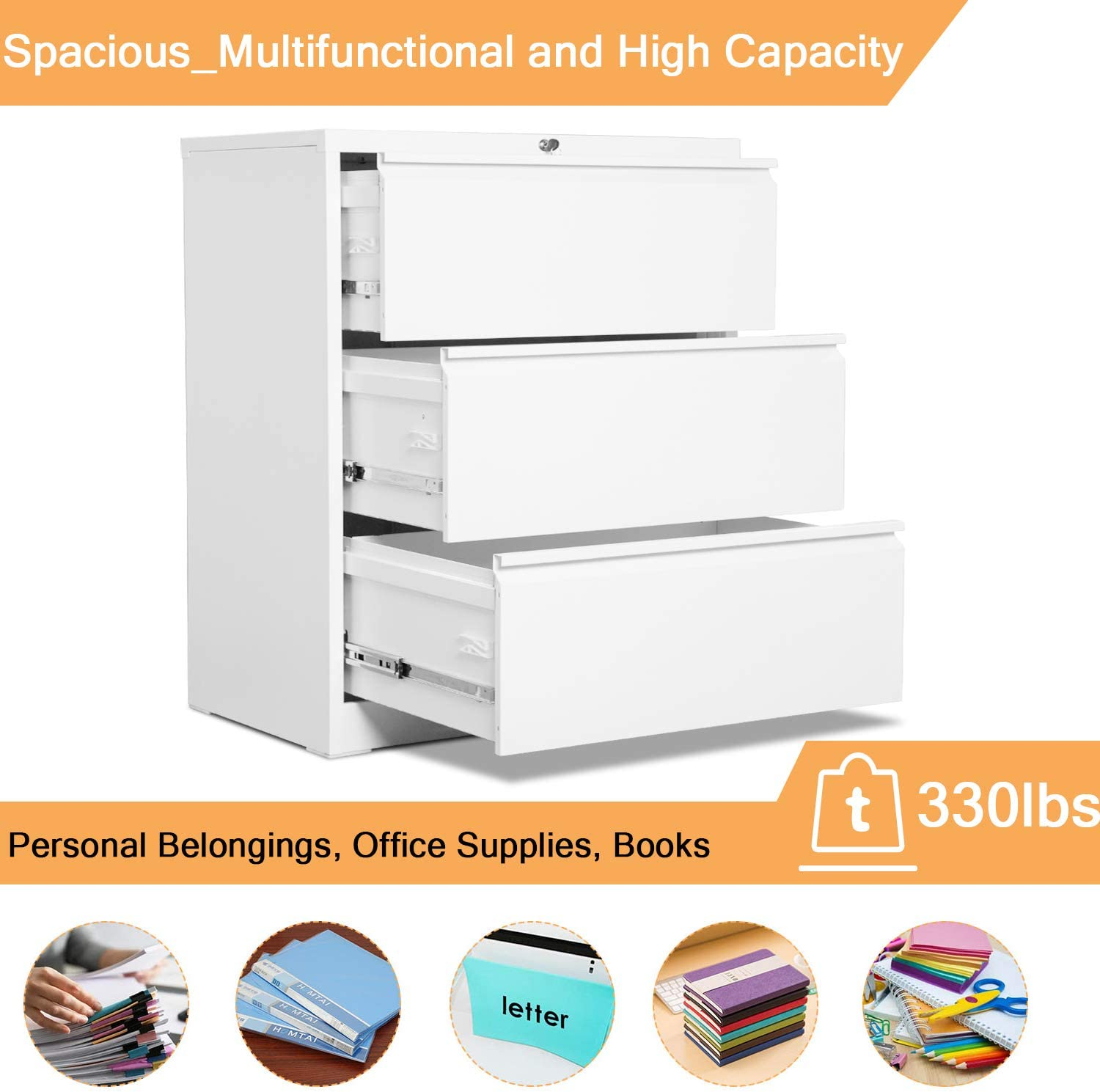 Metal Storage Cabinet,Anti-tilt and Know Down Structure,Folding Type Screwless Design,Assembly Required Black AOBABO 3 Drawer lateral File Cabinet W 30