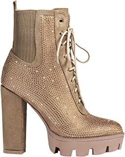 Women's Platform Chunky High Heel Ankle Boots - Fashion Lace up Rhinestone Diamante Booties