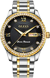 Watches for Men Waterproof Stainless Steel Band Gold Watch Classic Business Luxury Style Rhinestone Diamond Business Japan Movement Wrist Watch & Gift Box Father's Day