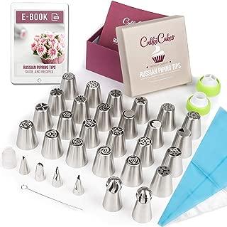 CukkiCakes Boquillas Rusas de Repostería - Set Decoración de Cupcakes y Tartas (55pcs): 30 Boquillas + 20 Mangas Pasteleras Desechables + Bolsa Silicona Reutilizable + 3 Adaptadores + Accesorios