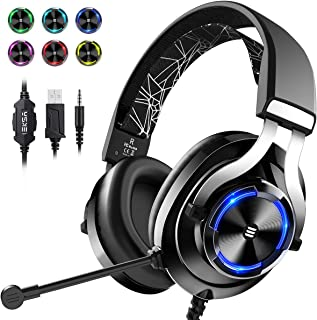 EKSA E3000 Wired Gaming Headset with Stereo Surround Sound, Gaming Chat Headphones with Noise Cancelling Mic, LED Light, Over-Ear Headphones with for Mobile, Laptop, PC, PS4, Nintendo Switch