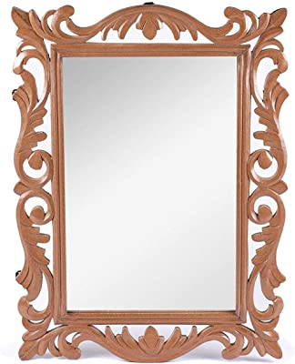 The Urban Store Wood Handcrafted Wall Mirror for Bedroom Home Décor Living Room Bathroom, 60 X 45 1.9 cm (Brown)