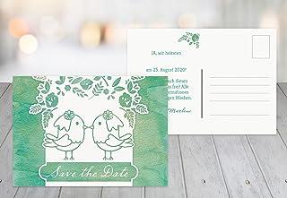 Save-the-Date Vogelpaar - Frauen, 80 Karten, MattGrün B07B6PWPB4  Elegant und feierlich