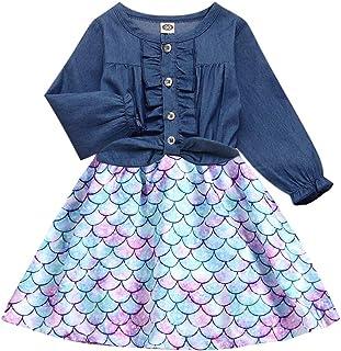 Enlifety Little Girls Princess Dresses Sleeveless Denim Tops Sundress Floral Print Tutu Skirts One-PieceOutfit 2-8T