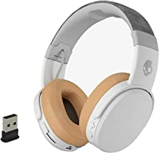 Skullcandy Crusher Foldable Noise Isolating Over-Ear Wireless Bluetooth Immersive Headphone Bundle with Plugable USB 2.0 Bluetooth Adapter - Gray/Tan