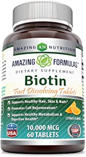 Amazing Formulas Biotin Fast Dissolving Tablets - 10000 MCG Tablets (Non-GMO,Gluten Free)-Supports Healthy Hair, Skin & Na...
