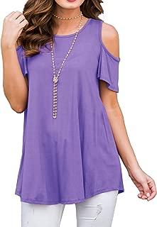 PCEAIIH Women's Casual Cold Shoulder Tunic Tops Loose Blouse Shirts