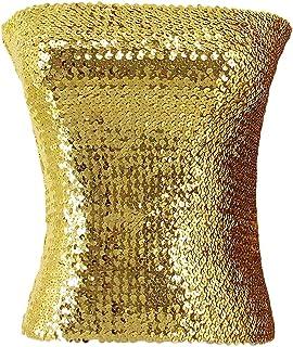 e973a0c396 Novia s Choice Women Shiny Sequins Stretch Tube Top Clubwear Strapless Long  Vest