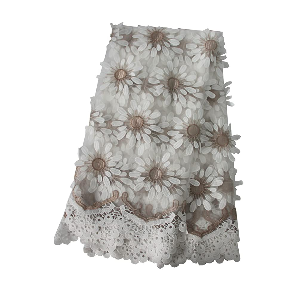 Lacerain 5 Yards African Lace Fabric Nigerian French Mesh Tulle Lace Fabrics Material Embroidery for Party Wedding Dress Skirt (White)
