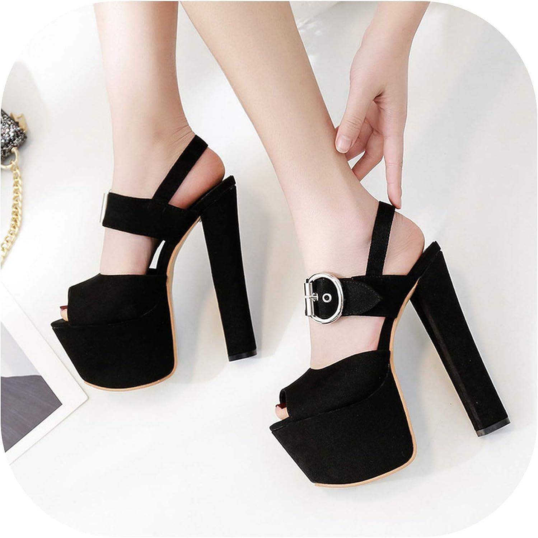 Women's Pumps Runway Spring New 17Cm T Stage Waterproof Platform Hate High Fashion High Heel Sandals,Black,38