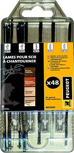 Peugeot Outillage 803300 Kit de 48 scie à chantourner Comprenant Goujons 18tpi et 6 10tpi, Rondes ø 0,88, Embouts Pla...