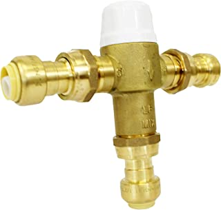 CMI Inc Thermostatic Mixing Valve with Push Connections, 1/2 X 3/4-Inch,PEX,For Hot Water Heater,Water Control,Shower,Temperature Regulator