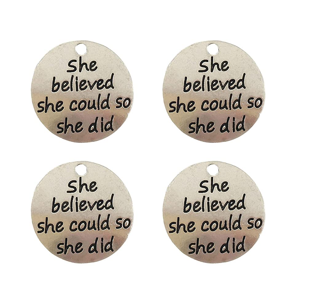 Yansanido Pack of 10 Alloy Silver ''She Believed she Could so she did'' 0.94'' Round DIY Antique Message Charms Pendant for Making Bracelet and Necklace (She Believed she Could so she did)