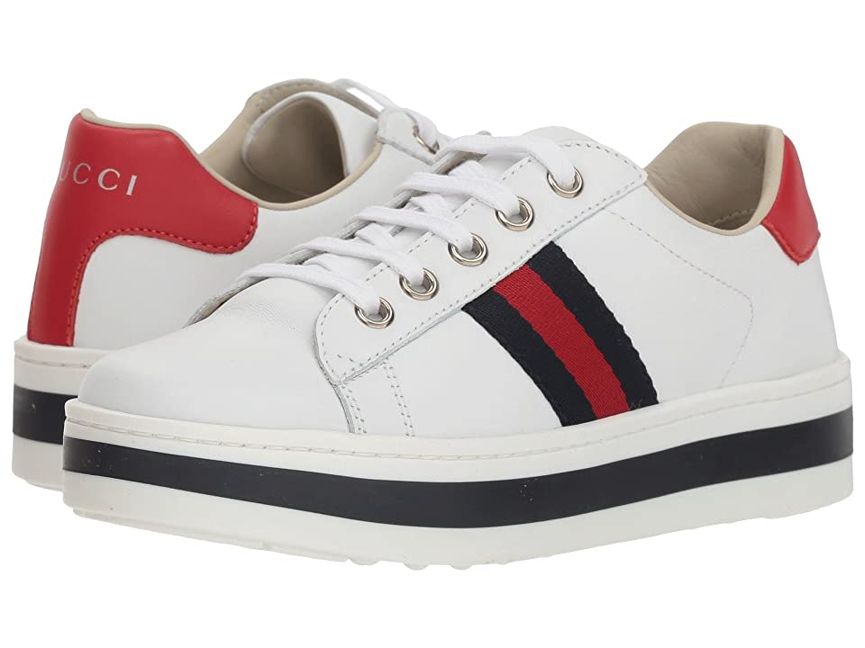 2f6f16cb9be Gucci Kids New Ace Platform Sneaker (Little Kid) (Mystic White) Girls Shoes