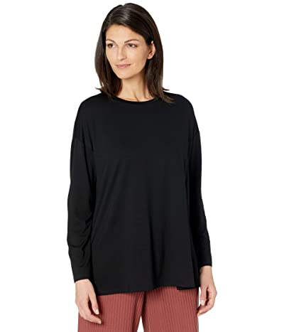 Eileen Fisher Fine Jersey Crew Neck Box Top (Black) Women