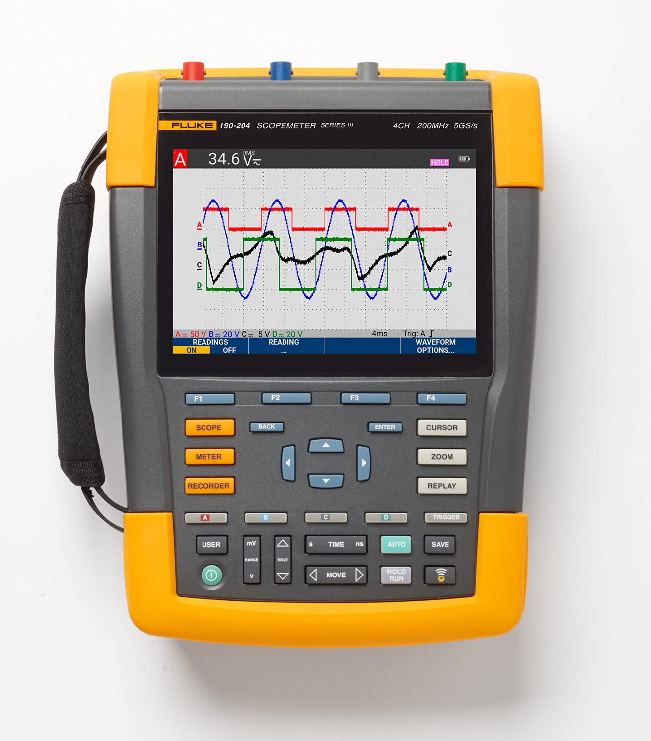 Fluke Cheap mail order sales 190-204-III Cal Color ScopeMeter Ranking TOP19 with 200 Channels MHz 4