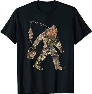 Fishing Bigfoot Carrying Fishing Pole Camo Yeti Sasquatch T-Shirt