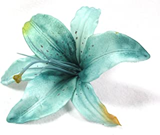 Turquoise Blue Tiger Lily Flower Hair Clip