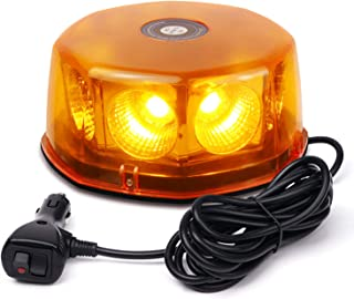 WoneNice 12-24V 48 Watts Amber COB LED Roof Top Rotating Mini LED Strobe Light Bars w/16ft Straight Cord for Trucks, Hazard, Emergency,Vehicles, Snow Plow, IP66 Waterproof and Magnetic