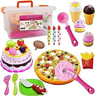 FUNERICA Pretend Cutting Play Food Kids Toy Set with Cutting Pizza, Ice Cream, Fries, Dessert, Storage Box & Toy Birthday ...