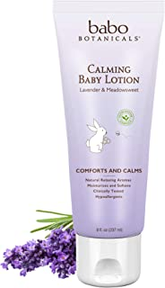 Babo Botanicals Calming Lotion with French Lavender and Organic Meadowsweet, Non-Greasy, Hypoallergenic, Vegan, for Babies, Kids or Sensitive Skin - 8 oz.