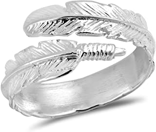 AeraVida Spiritual Embrace Feather Wrap .925 Sterling Silver Ring