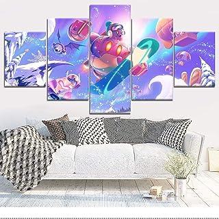 ThreU 5 Piezas Lienzo Pintura,5 Paneles Cuadros,Impresión HD,Modular Póster,Decoración Hogareña,Mural Abstracto, Kirby Planet Robobot Imagen del Juego,100Cm×50Cm,con Marco