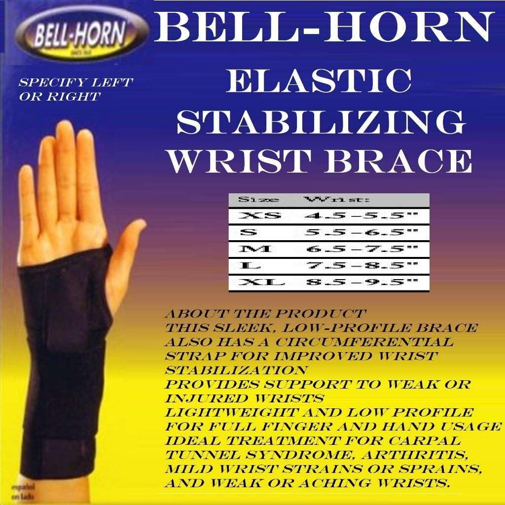 Elastic Stabilizing Wrist Brace in Black Size Medium Left Wrist