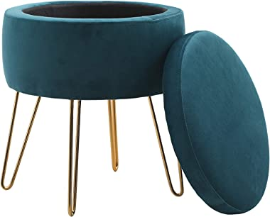 Round Storage Ottoman Footrest Stool with Removable Lid Side Table Seat Padded Velvet with Gold Metal Legs Upholstered Decora