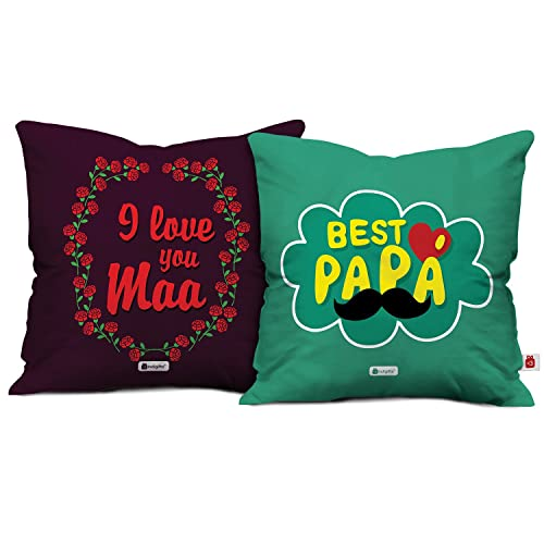 Indigifts 12x12 Inches I Love You Maa & Best Papa Printed Micro Satin Cushion Cover with Filler Set (Multicolour) - Pack of 2