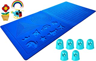 Sponsored Ad - 3D Pen Mat, 16.8 x 7.9 Inches Large 3D Printing Mat Silicone Basic Template with 6 Finger Protectors, 3D Pe...