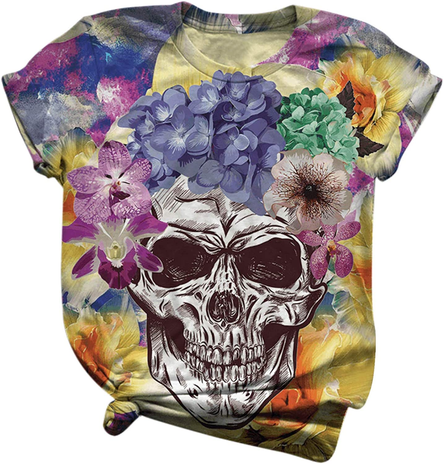 Womens Short Sleeve Tops, naioewe Skull Print Shirts for Women Plus Size O-Neck T Shirt Blouse Tops Funny Graphic Tees