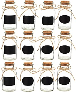 Juvale Small Glass Bottles - Set of 12 Glass Bottles with Cork Stoppers, Small Glass Decorative Bottles Ideal for DIY Crafts, Home, Party Favors, 8.5 Ounces