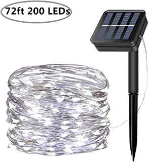 Solar String Lights, 200 LED Solar Fairy Lights 72 feet 8 Modes Silver Wire Lights Waterproof Outdoor String Lights for Garden Patio Gate Yard Party Wedding Indoor Bedroom - Cool White