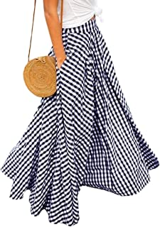 FRPE Women Plaid High Waist Flare Maxi Skirt with Pockets