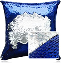 HeMiaor Glitz Pillow Case,Sequin Throw Square Pillows Cover Decorative Cushion Case for Sofa Home Decor, 14x14 Inches, Royal Blue and Silver