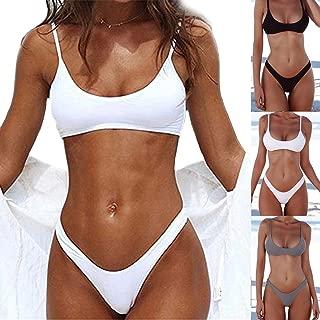 KIWI RATA New Womens Solid Padded Push Up 2 Piece Bikini Sets Tankini Top Triangle Swimsuit T-Back V Style Bottom