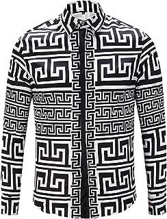 Mens Long Sleeve Luxury Design Print Dress Shirt