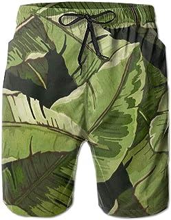 120c59b512 FAVIBES Noir Banana Leaves Peinture Séchage Rapide Dentelle Élastique  Boardshorts Beach Shorts Pantalon Maillot De Bain