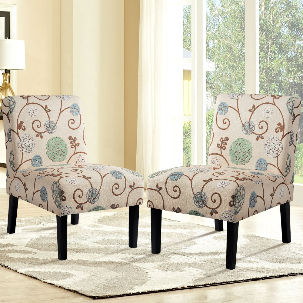 Harper&Bright Designs Upholstered Accent Chair Armless Living Room Chair  Set of 8 (Beige/Floral)
