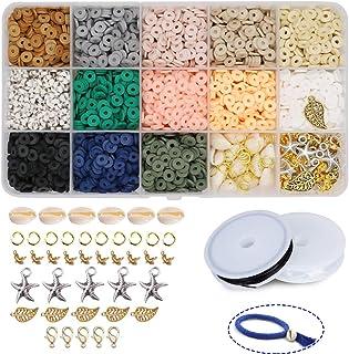 Potosala Perles plates faites à la main en argile polymère 6 mm 2600 pièces Perles d'espacement en vrac pour bracelets, bo...